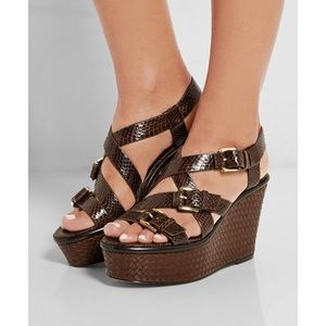 Michael Kors Collection Snakeskin Leather Wedges